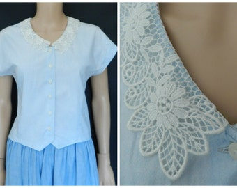 70's 50's COTTON chambray lacy blue peter pan dolly collar rockabilly blouse top U.K.  12 M