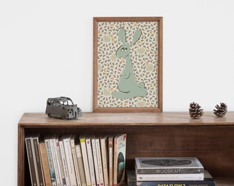"Illustration ""rabbit"" inspirational art print for the boy nursery"