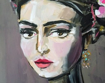 Frida Kahlo PRINT on Paper or Canvas, roses, pretty, portrait
