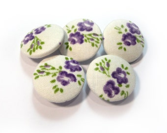 White purple floral buttons, cloth buttons, Fabric Covered Buttons, small buttons, children buttons, plastic shank girl buttons