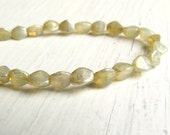 Champagne Shimmer Pinch Beads - 5mm champagne opal cream silver shimmer pinch beads (25), soft champagne yellow beads, czech glass beads