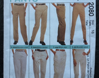 Vintage 1990s Pants Pattern- Perfect Fit // McCall's 2080, size 16 > relaxed, classic, cargo and slim fit > unused