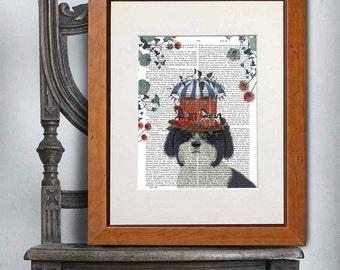 Shih Tzu Print - Milliners Dog - Shih Tzu art print Shih Tzu wall art Whimsical art Unique kid gift Cute animal art for kids rooms