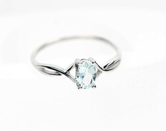 14k White Gold Genuine Aquamarine Birthstone Ring