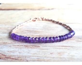 Rich Deep Purple Amethyst Gemstone & 14K Gold Beaded Stacking Bracelet, Layering Bangle, Delicate Bracelet