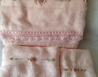 Pink deluxe  Embroidered bath towel, face washer, and hand towel set with hand crocheted edge.