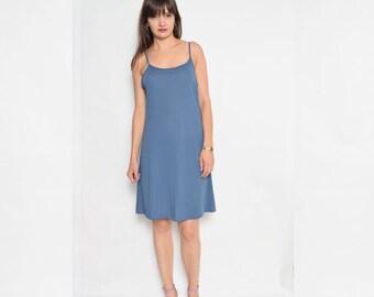 Vintage 90's Blue Slip Dress / Sleeveless Mini Dress - Size Large