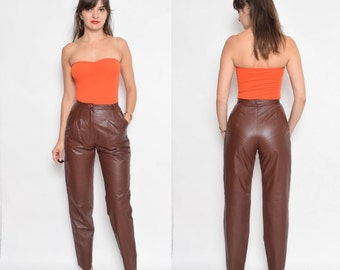 Vintage 80's High Waisted Brown Genuine Leather Pants / Front Pleated Leather Pants