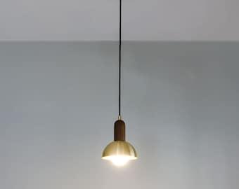 Hemisphere Pendant Light - Brass and Walnut Mid Century Lighting - Modern Brass Half Dome
