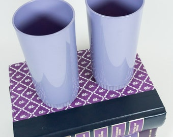 Purple cups, Melmac, Royalon Inc. Made in the U.S.A., two lilac tumblers, Melamine, 60's, retro kitchenware, lavender lilac, picnic ware