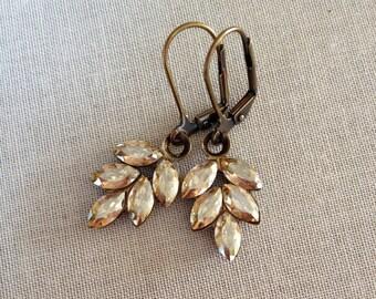 Swarovski Rhinestone Leaf Earrings, champagne, wedding earrings, Fall, Autumn, wedding jewelry, bridesmaid gift, leaf, leaves, gold
