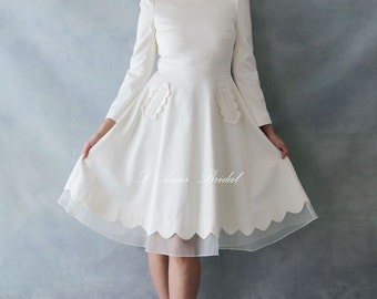 Modest Retro 50s Knee Length Wedding Dress with Long Sleeves and Curved neckline YS 198350978