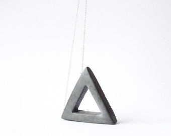 charcoal concrete triangle necklace
