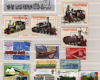 Lot Railroad Stamps, Train Stamps, Worldwide Stamps, Trains, Railroad Postage Stamps, Stamps, Stamp Collection, Paper Crafts, Decoupage
