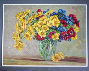 antique french colored etching -engraving - Floral Still Life - A.Soraperta