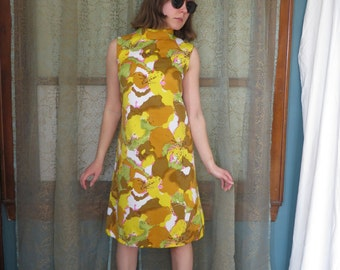 1960s Yellow Watercolor Shift Dress 60s Mod Dress Abstract Floral Mad Men Sleeveless Dress Cowl Collar Dress Twiggy Swinging 60s Floral