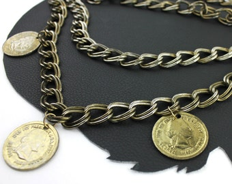 Vintage George Washington Coin Chain Belt -  up to 41 inches