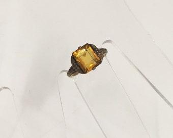 1920s 14K Art Deco Ring Designer Signed UNCAS Real Gold Filled Citrine Orange Gem Emerald Cut Engagement Ring Great Gatsby Flapper Jewelry