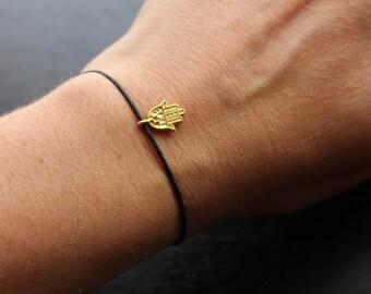 Hamsa bracelet, gold Hamsa bracelet, Hamsa cord bracelet, good luck bracelet, Hand of Hamsa bracelet, Hand of Fatima, good luck gift