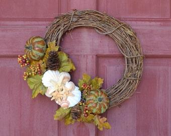 Beach Decor, Autumn Wreath, Fall Nautical Wreath, Autumn Seashell Beach Wreath, Coastal Home Decor, Nautical Door Wreath
