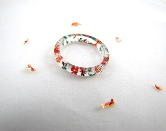 Red and Blue Flower Petal Stacking Resin Rings with Rose Gold Flakes