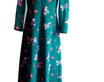 Vintage maxi dress, 70s maxi dress, hippy maxi dress, long sleeve maxi dress, floral maxi dress, 70s dress boho maxi dress floral maxi dress
