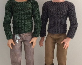 sweater / jumper crochet pattern for Ever After High / Monster High boys. Plus hat PDF