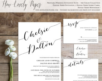 Printable Wedding Invitation Suite - the Chloe Collection