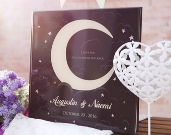 Personalized Wedding Guest Book, Crescent Moon Wedding Guestbook, Custom Wedding Guest Book - Made With Crystal Acrylic Glass Cover -GB#01