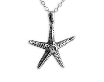 Sea Starfish Charm Pendant Necklace #925 Sterling Silver #Azaggi N0372S