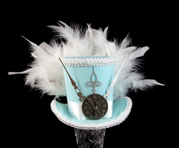 Minty Blue and White Alice Silver Steampunk Medium Mini Top Hat Fascinator, Alice in Wonderland, Mad Hatter Tea Party, Derby Hat
