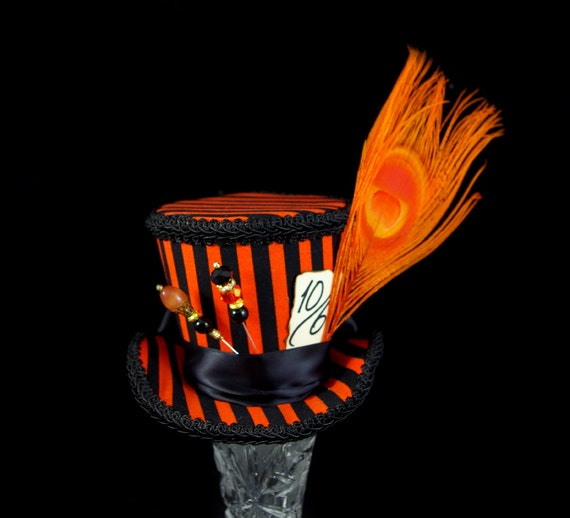 Orange and Black Striped Hatter Flared Medium Mini Top Hat Fascinator, Alice in Wonderland, Mad Hatter Tea Party, Derby Hat, Halloween Hat