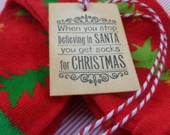 Socks for Christmas Tag -- Christmas Tag -- Holiday Tag -- Sentiment Tag -- Handmade Tag