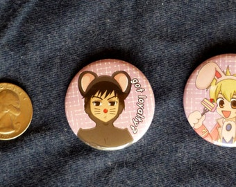 Ouran Host Club - Honey and Mori Buttons
