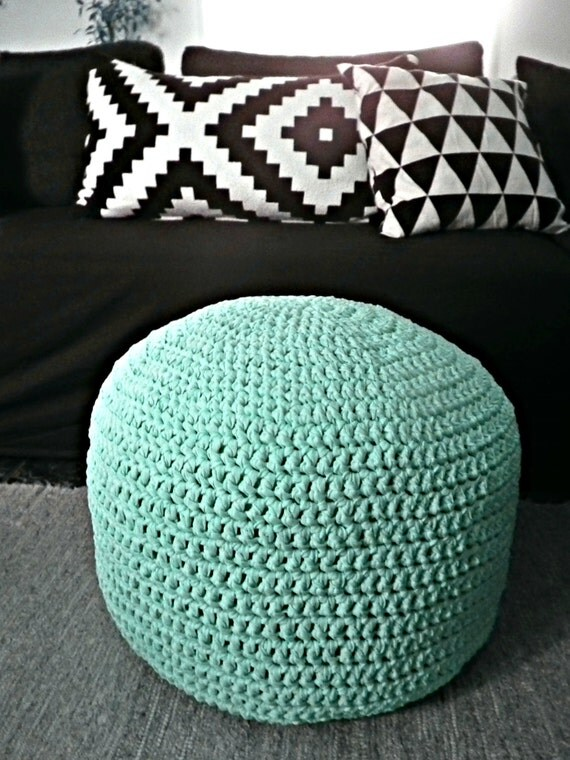 Mint 7pcs Unicorn Conical Gradient Color Makeup Brushes: Light Mint Ottoman Pouf Light Mint Footstool By LoopingHome