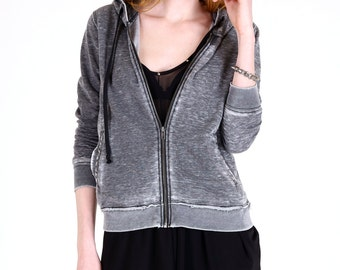 Fleece Knit Burnout Hoodie