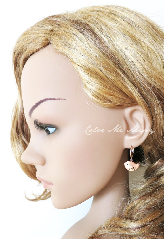 Rose Gold love Bird Levered back Earrings - gifts for her, mother daugther jewelry baby sister earrings jewelry