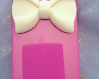 Iphone 5 5s case Pink with White Bow