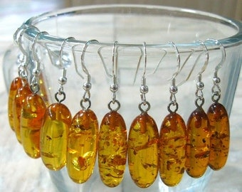Natural Honey Amber Earrings Oval dangle drop earring yellow honey bee sterling silver amber jewelry eco wedding gift bridal bridesmaid