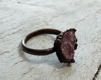 Size 8 - Pink Tourmaline Oxidized Copper Ring