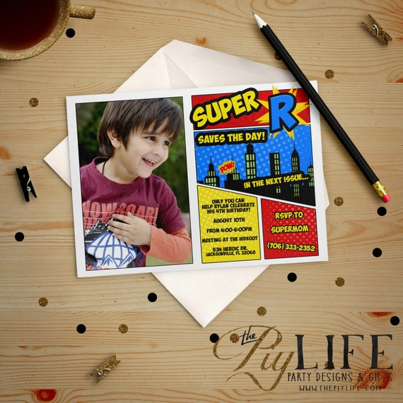 Free Comic Book Day Flyer: Birthday Invitation Superhero Save The Day Comic Book Or