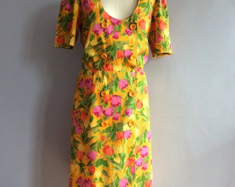 80s Ungaro style floral print cotton dress shoulder pads tea dress flower print 80s midi dress floral dress size Large XL padded shoulders