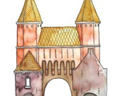 Postcard Kamperbinnenpoort Amersfoort, Illustrated Postcard, Aquarel and Pen