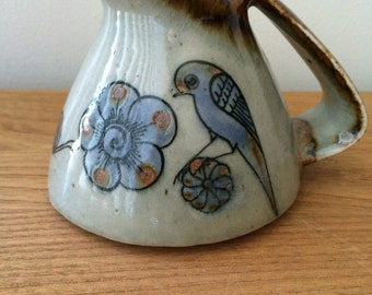 Ken Edwards Tonala Bird and Flowers Pitcher
