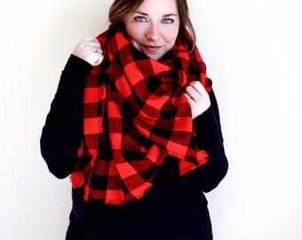 Plaid Blanket Scarf   Lumberjack Buffalo Check Oversized Fringe Wrap   Frayed Edge Square Shawl   Red, Black Print Scarf   BUFFALO CHECK