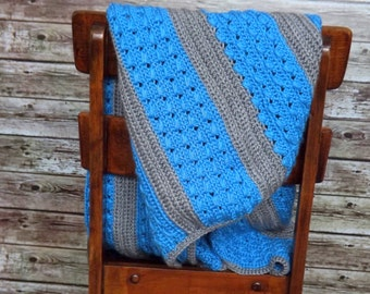 Blue Baby Blanket-- Cable Stitch Crochet Baby Blanket