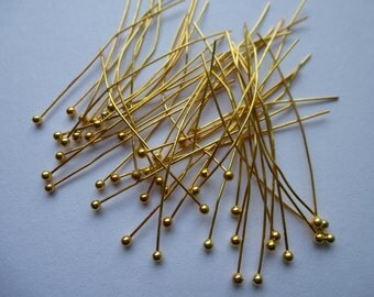 Ball headpins.  Gold plated copper    30mm x0.5mm.  Set of 100.  Lead and nickel free