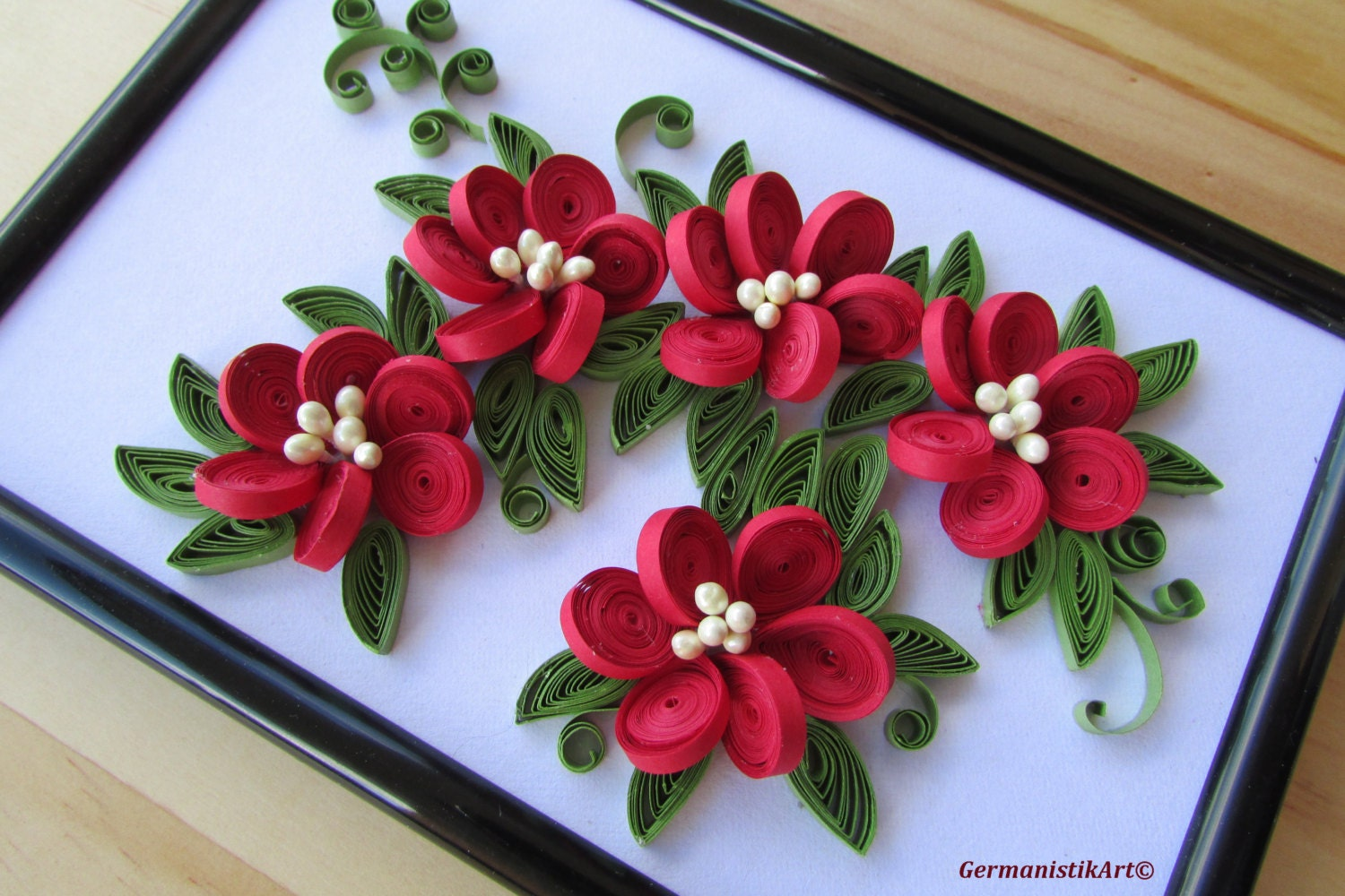 Quilling Wall Art Design : Flower hanging wall art miniature quilled home decoration