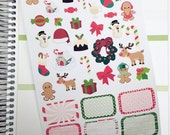 Christmas Clip Art Decorative Stickers / Christmas Half Box Stickers for ECLP / Fun, Decorative Christmas Holiday Planner Stickers