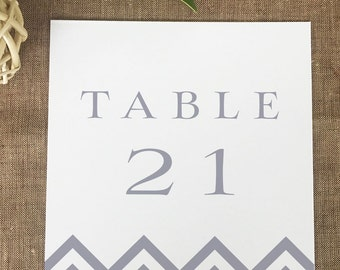 Chevron Table Numbers, Printed Wedding Table Numbers, Gray Chevron Number Cards